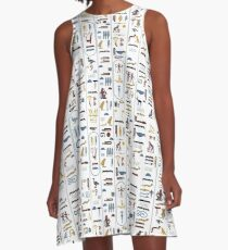 Pharaoh Hieroglyphs A-Line Dress