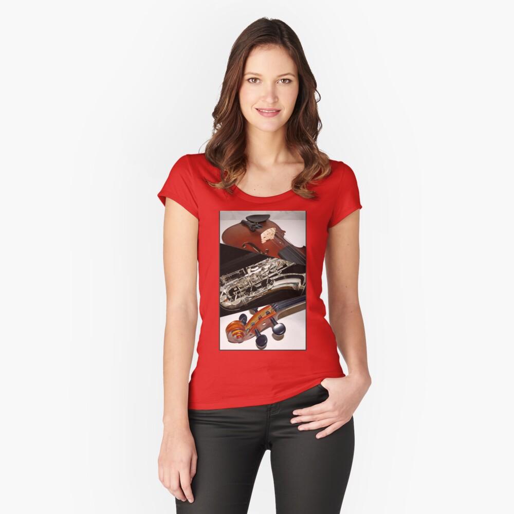 Violin and Saxophone Collage Tailliertes Rundhals-Shirt