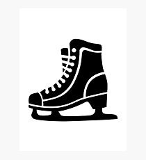 Black ice skate Photographic Print
