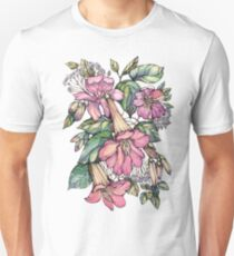 Red Trumpet Vine flowers on blue T-Shirt