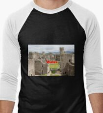Wales: Caernarfon Castle, United Kingdom Men's Baseball ¾ T-Shirt