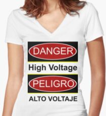 Danger high voltage & in spanish peligro alto voltaje Women's Fitted V-Neck T-Shirt