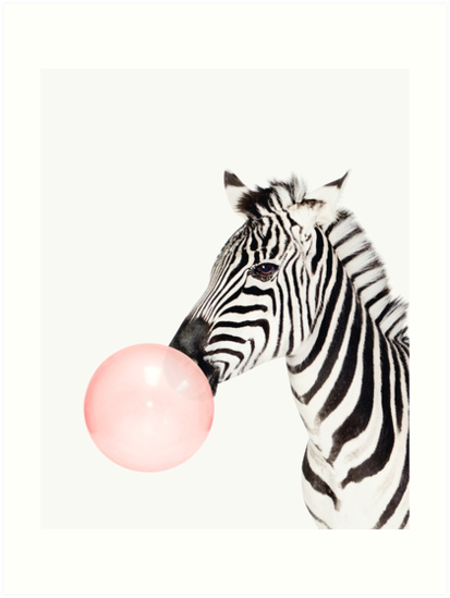 Zebra print bubble gum nursery art zebra wall art animal kids