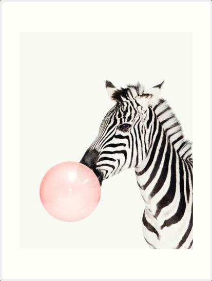 Zebra Print, Bubble Gum, Nursery Art, Zebra Wall Art, Animal, Kids