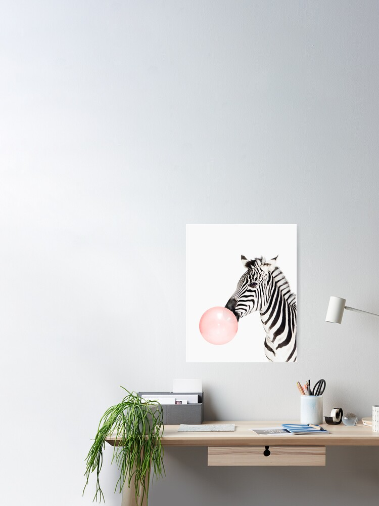 Alternate view of Zebra print, Bubble gum, Nursery art, Zebra wall art, Animal, Kids room, Modern art, Wall decor Poster