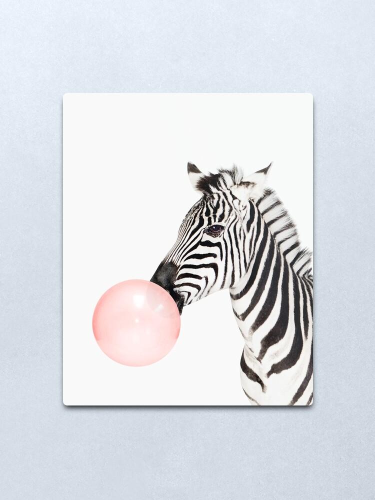 Alternate view of Zebra print, Bubble gum, Nursery art, Zebra wall art, Animal, Kids room, Modern art, Wall decor Metal Print