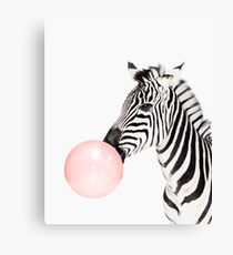 Zebra print, Bubble gum, Nursery art, Zebra wall art, Animal, Kids room, Modern art, Wall decor Canvas Print