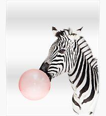Zebra print, Bubble gum, Nursery art, Zebra wall art, Animal, Kids room, Modern art, Wall decor Poster