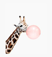 Giraffe print, Bubble gum, Nursery art, Giraffe wall art, Animal, Kids room, Modern art, Wall decor Photographic Print