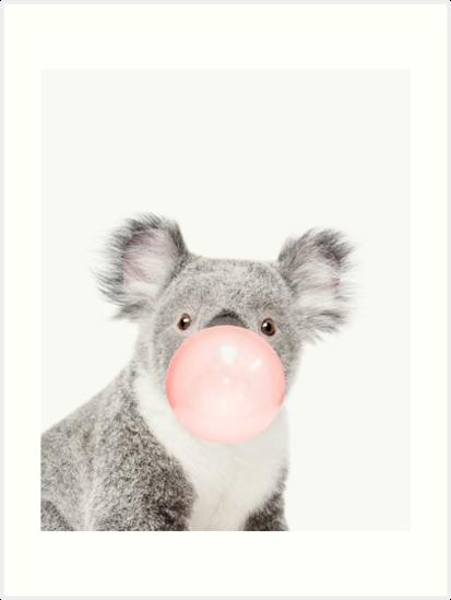 «Impresión de Koala, goma de mascar, arte del cuarto de niños, arte de la pared del koala, animal, sitio de los niños, arte moderno, decoración de la pared» de juliaemelian