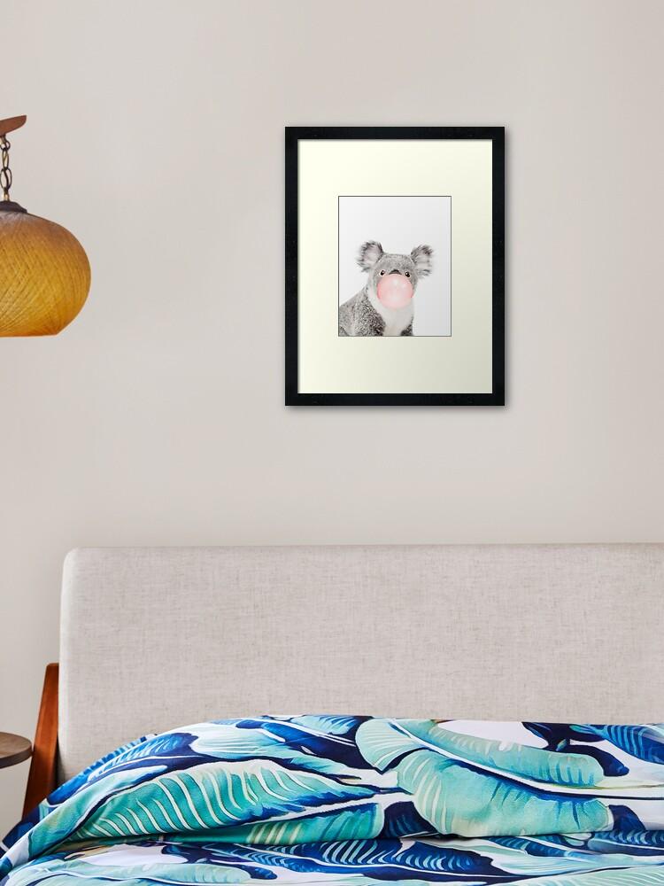 Koala print, Bubble gum, Nursery art, Koala wall art, Animal, Kids room,  Modern art, Wall decor | Framed Art Print