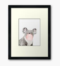 Koala print, Bubble gum, Nursery art, Koala wall art, Animal, Kids room, Modern art, Wall decor Framed Print