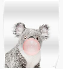 Koala print, Bubble gum, Nursery art, Koala wall art, Animal, Kids room, Modern art, Wall decor Poster