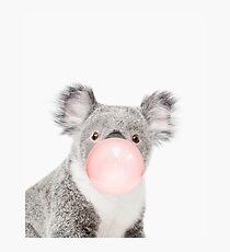 Lámina fotográfica Impresión de Koala, goma de mascar, arte del cuarto de niños, arte de la pared del koala, animal, sitio de los niños, arte moderno, decoración de la pared