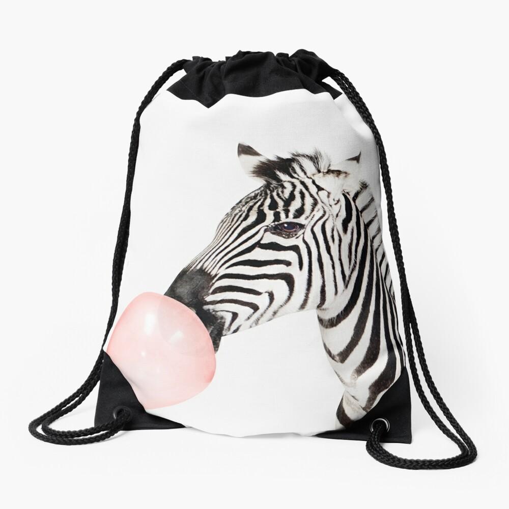 Zebra print, Bubble gum, Nursery art, Zebra wall art, Animal, Kids room, Modern art, Wall decor Drawstring Bag