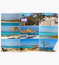 Photo collage with images of Chrissi Island, near Crete, Greece Poster