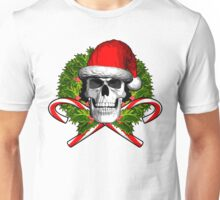 Santa Skull and Wreath Unisex T-Shirt