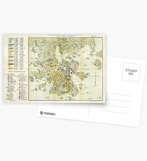 Vintage Map of Helsinki Finland (1876) Postcards
