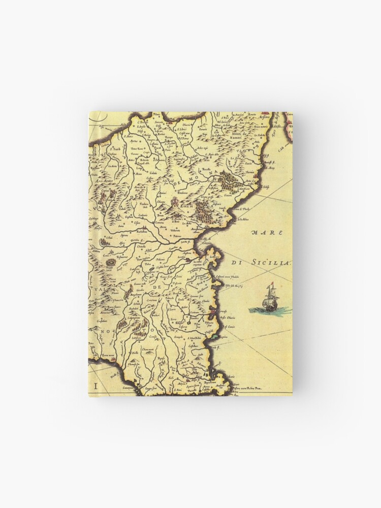 Vintage Map of Sicily Italy (1600s) | Hardcover Journal