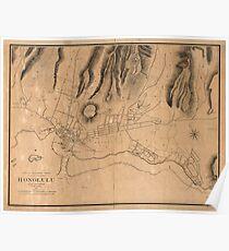 Vintage Map of Honolulu Hawaii (1887) Poster