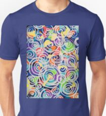 Easter Sunrise Swirls Twirling Eggs Colors Yellow Orange Green Turquoise Blue Purple Violet Shapes Abstract T-Shirt