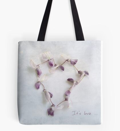 It's Love Wisteria Petals Heart Tote Bag