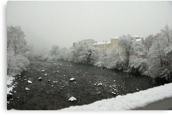 Snow storm on the Talvera River, Bolzano/Bozen, Italy by L Lee McIntyre
