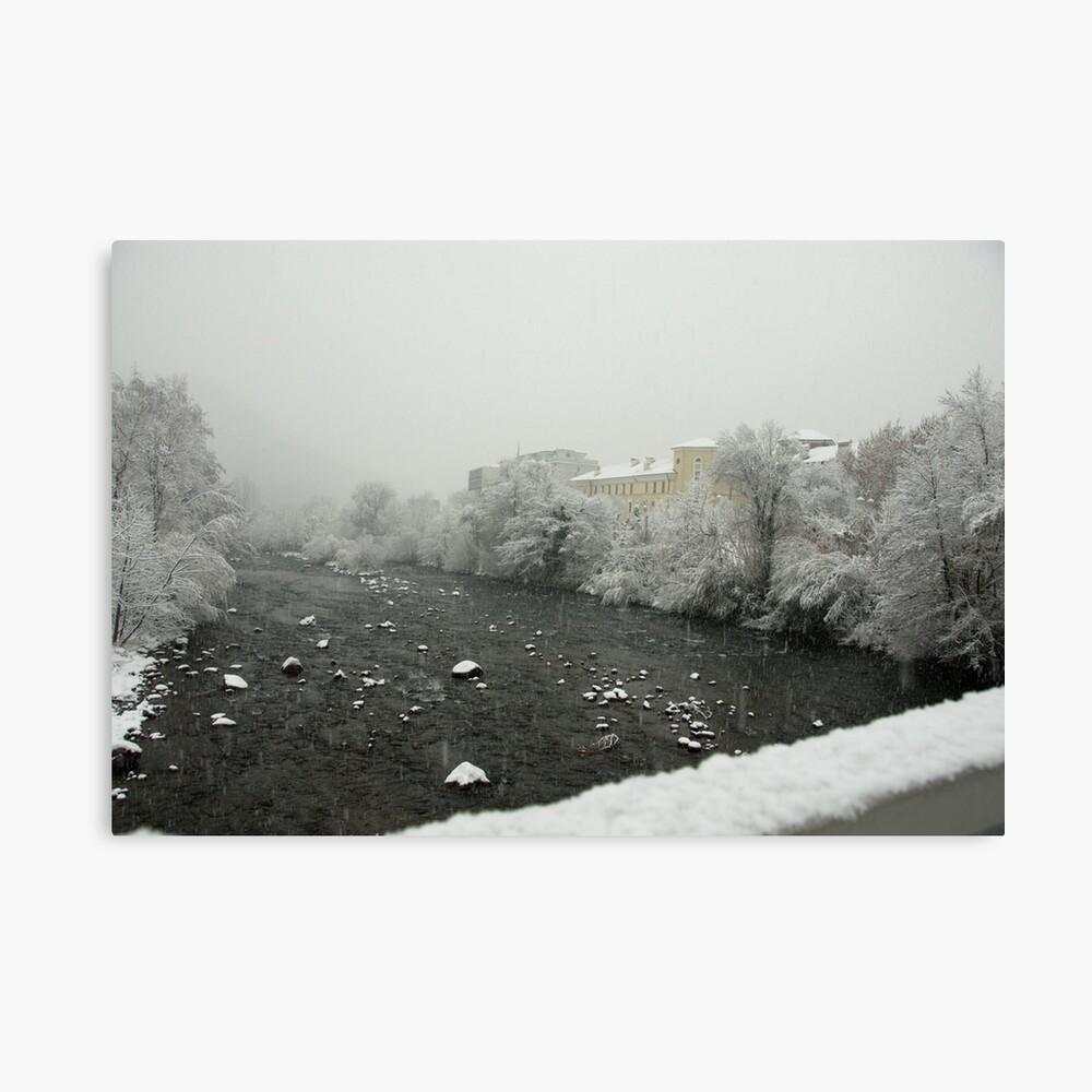 Snow storm on the Talvera River, Bolzano/Bozen, Italy Canvas Print