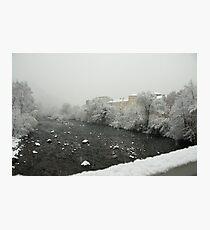 Snow storm on the Talvera River, Bolzano/Bozen, Italy Photographic Print