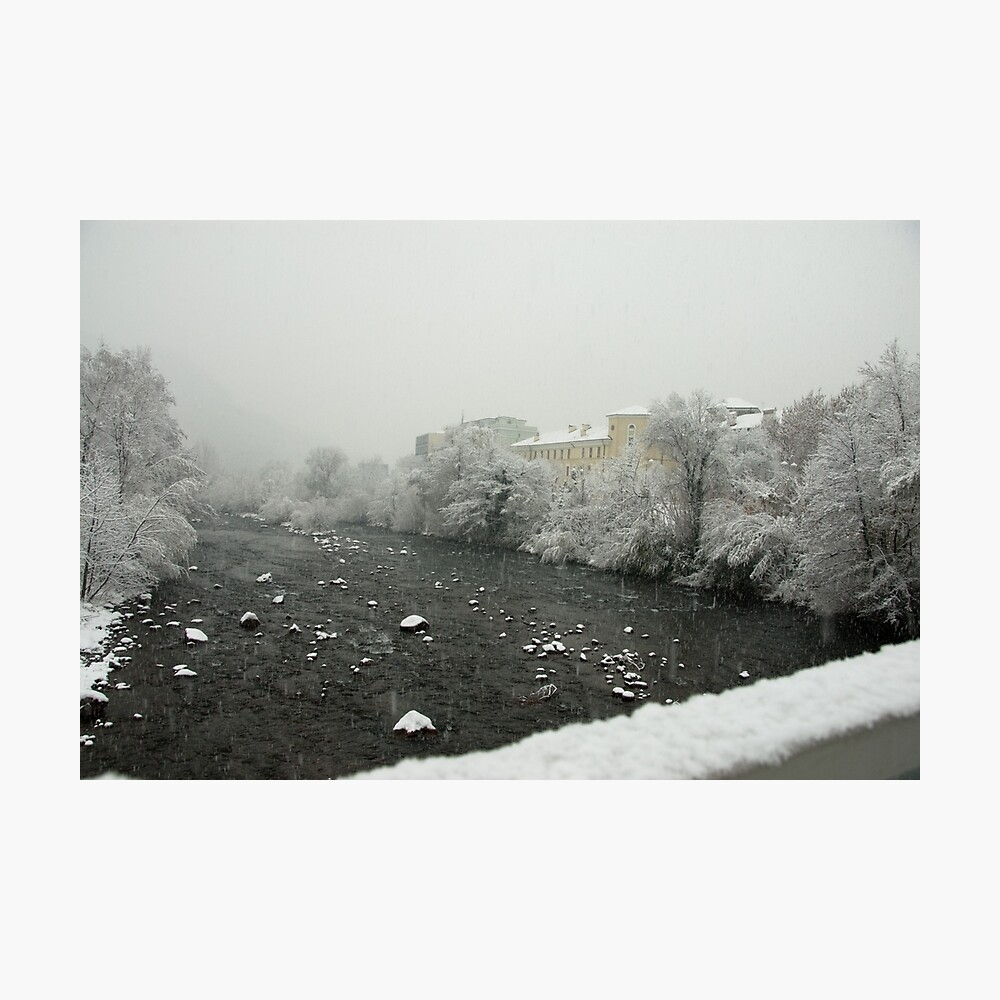 Snow storm on the Talvera River, Bolzano/Bozen, Italy Photographic Print