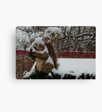 Snow covered animal figure, Christmas Market, Bolzano/Bozen, Italy Canvas Print