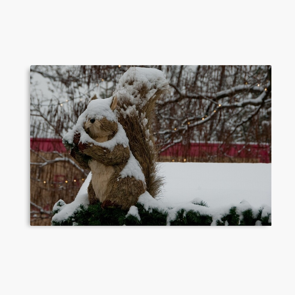 Snow covered animal figure, Christmas Market, Bolzano/Bozen, Italy Canvas Print