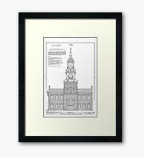 Independence Hall Blueprint Schematics Framed Print