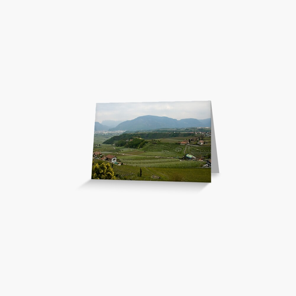 Valley with vineyards and apple orchards near Bolzano/Bozen, Italy Greeting Card