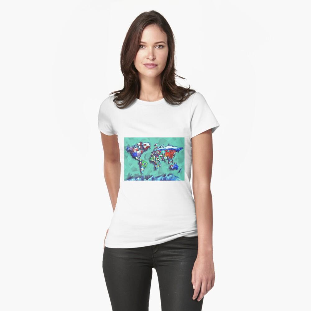 Flaggen der Weltkarte Tailliertes T-Shirt