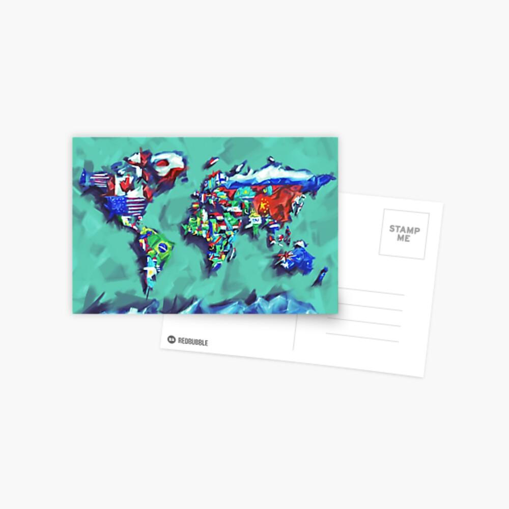 Flaggen der Weltkarte Postkarte