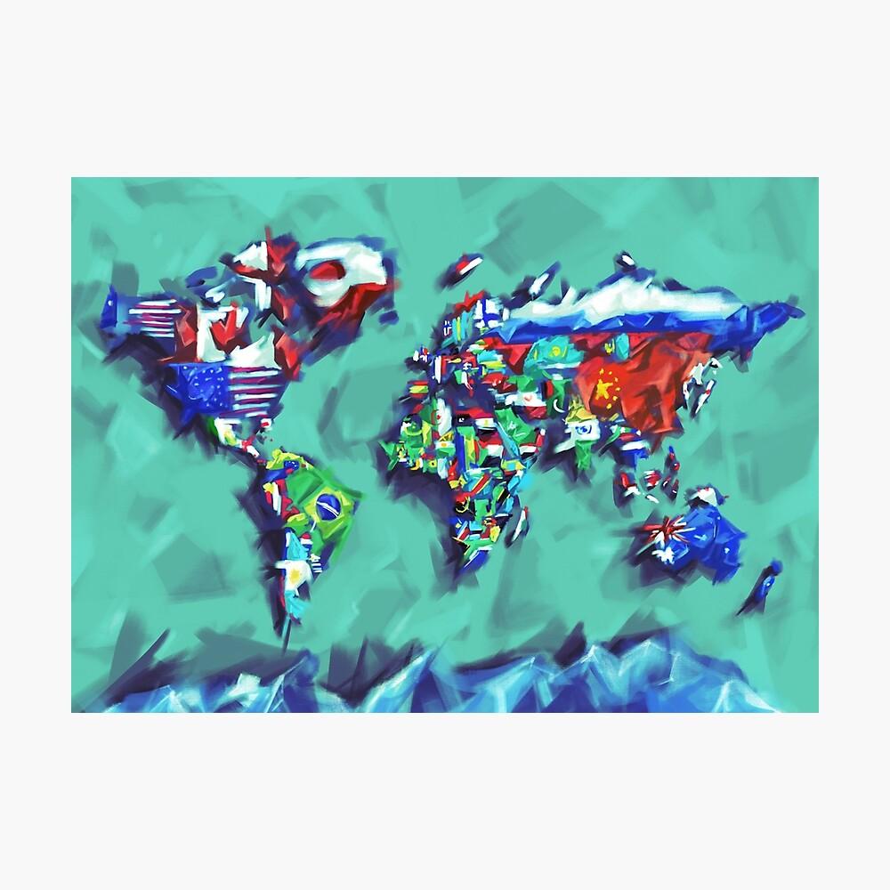 Flaggen der Weltkarte Fotodruck