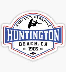 Surfing HUNTINGTON BEACH CALIFORNIA Surf Surfer Surfboard Waves Ocean SURFER'S PARADISE Sticker
