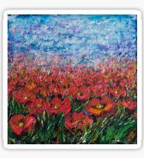 Red Poppy Field - by Lena Owens Sticker