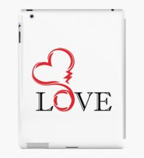 abstract red heart with black letter love. tatoo. vector iPad Case/Skin