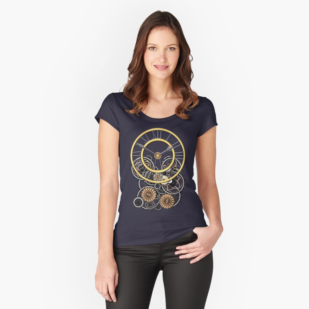 Stylish Vintage Steampunk Timepiece Steampunk T-Shirts Fitted Scoop T-Shirt