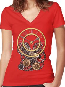 Stylish Vintage Steampunk Timepiece Women's Fitted V-Neck T-Shirt
