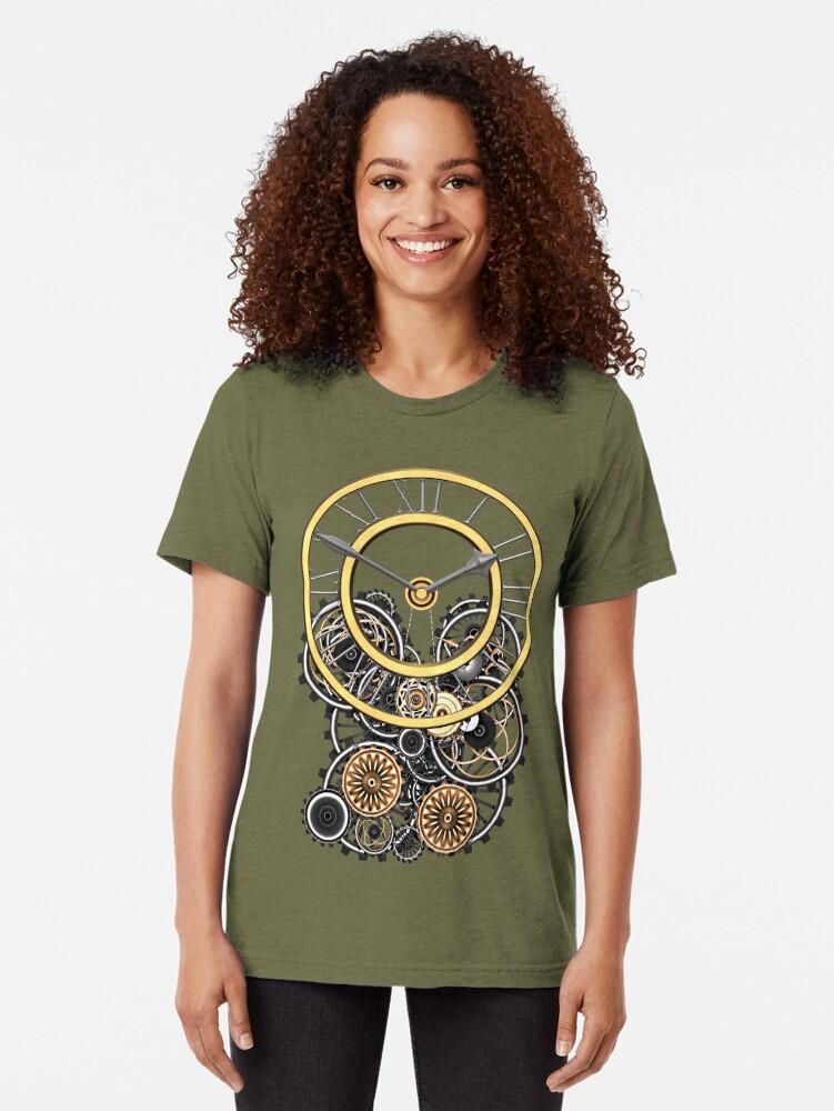 Alternate view of Stylish Vintage Steampunk Timepiece Steampunk T-Shirts Tri-blend T-Shirt