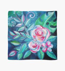 Tropical Camellia Extravaganza - oil on canvas Scarf