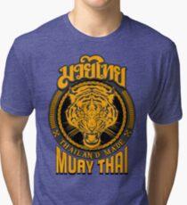 tiger sagat muay thai  thailand martial art logo Tri-blend T-Shirt