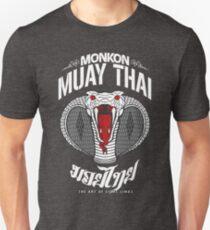 monkon muay thai cobra thailand martial art sport logo dark shirt T-Shirt