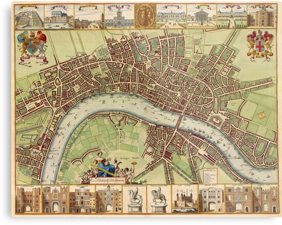 Vintage Map of London England (16th Century)