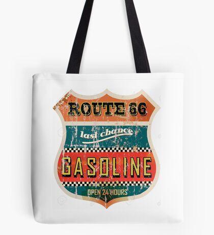 Route 66 Gasoline vintage sign Tote Bag