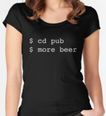 Linux Commands - cd pub more beer Women's Fitted Scoop T-Shirt