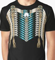Native American Warrior Chestplate in Ivory and Blue Graphic T-Shirt